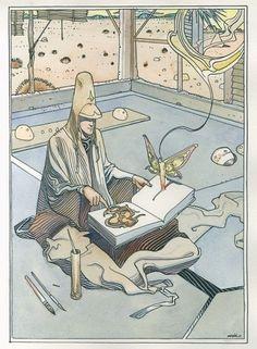 Ilustración propiedad de Moebius© #art #illustration #indiecomic #frenchcomic #moebius #scifi #alucinacionesespontáneas #creemosenelasombro