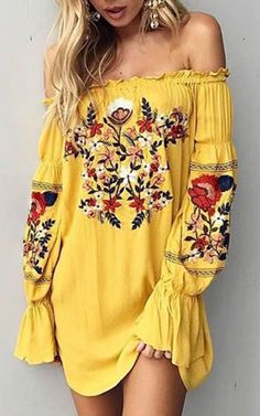 Off the shoulder tunic dress with floral embroidered patterns. ❤️ boho fashion :: gypsy style :: hippie chic :: boho chic :: outfit ideas :: boho clothing :: free spirit - The latest in Bohemian Fashion! Boho Outfits, Summer Outfits, Cute Outfits, Fashion Outfits, Fashion Trends, Yellow Outfits, Dress Fashion, Dress Outfits, Yellow Summer Dresses