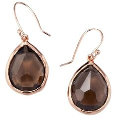 Pre-owned Rose Rock Candy Teardrop Earrings ($241) ❤ liked on Polyvore featuring jewelry, earrings, accessories, rose gold and smoky quartz, teardrop earrings, ippolita jewelry, tear drop earrings, rose jewelry and ippolita