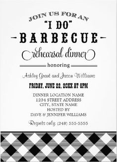 """Minimalist clean and classic """"I Do"""" Barbeque Invitations. A cinch to customize! #I_Do_BBQ_Invitations"""