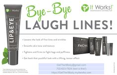 Bye bye laugh lines with the Lip and Eye by It Works!  GetTheItBody.myitworks.com