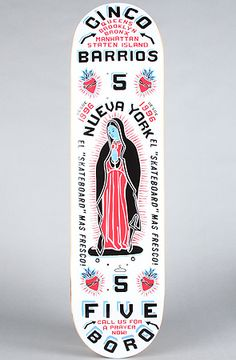 "5Boro ""Cinco Barrios"" White in Size 8"" by 5 Boro NYC  love this deck art"