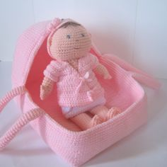 free crochet doll patterns | New Crochet Pattern: Baby Doll Carrier & Portable Bassinet