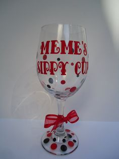 Personalized sippy cup wine glass - mommy's sippy cup - grandma's sippy cup. $12.00, via Etsy.