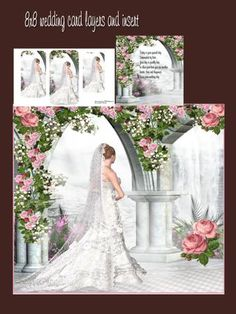 wedding day bride mini kit on Craftsuprint designed by Cynthia Berridge - wedding day bride mini kit card layers and insert - Now available for download!