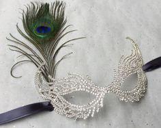 Rhinestone Feather Party Mask, Costume Ball Mask, Masquerade Wedding, Peacock Feather Mask, Masquerade Mask, Gothic Mask, Mardi Gras Mask