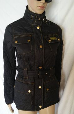 Women's Barbour International Black Quilted Jacket Casual England Size S #BarbourInternational #BasicJacket