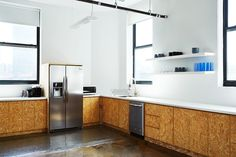 Brad Sherman of B.Sherman Studio chipboard kitchen design for the Mobile Commons office in Brooklyn, James Ransom photo | Remodelista
