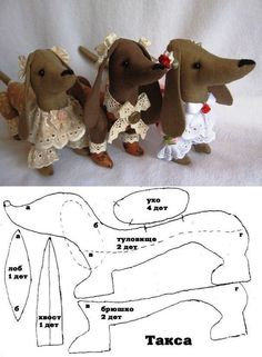 Sewing Toys How to sew dachshund toy, pattern - Dog Crafts, Animal Crafts, Felt Crafts, Sewing Crafts, Sewing Projects, Kids Crafts, Sewing Stuffed Animals, Stuffed Animal Patterns, Plush Pattern