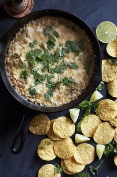 Skillet White Chili Dip | Set the Table #vegetarian