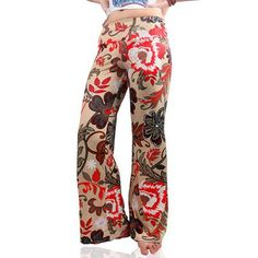 Retro Women's Low-Waist Floral Print Exumas Pants