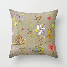 Floral Fantasy Throw Pillow by baba yagada - $20.00
