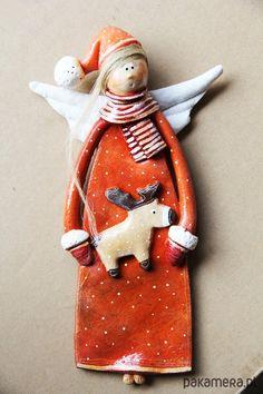 dodatki - dekoracje - anioły i figurki-Świateczny Anioł no.2 -  Boże Narodzenie