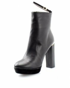 Versace Collection Genuine Leather Zip-up Booties