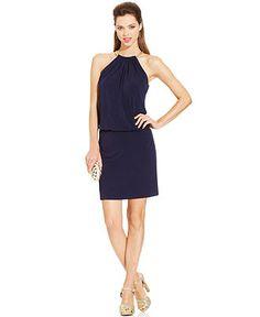 Jessica Simpson Halter Necklace Blouson Dress - Dresses - Women - Macy's