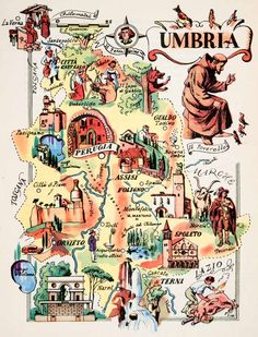 This artistic pictorial map features people and historic buildings. Italy Map, Italy Travel, Umbria Italia, Map Store, World Map Decor, Pictorial Maps, Map Pictures, Travel Illustration, Travel Maps