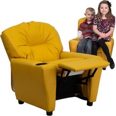 Contemporary Yellow Vinyl Kids Recliner with Cup Holder BT-7950-KID-YEL-GG by Flash Furniture