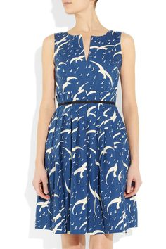 Belted bird print dress by Collette Dinnigan