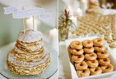 Scrumptious pancake stack naked wedding cake and glazed doughnuts. Pancake Cake, Pancake Stack, Wedding Donuts, Wedding Cakes, Wedding Brunch Reception, Crepe Cake, Baptism Party, Yummy Treats, Tasty