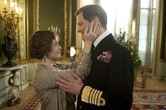 """Helena Bonham Carter as Elizabeth and Colin Firth as King George VI in """"The King's Speech"""" Colin Firth - Best Actor Oscar 2010 Colin Firth, Amor Real, King's Speech, Inspirational Movies, Helena Bonham Carter, Movie Couples, Romance, George Vi, Drama Film"""