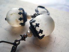 antique rosary bead earrings