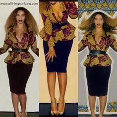"""All Things Ankara: Celebrities: Beyonce is """"Feeling Herself"""" in Demestiks New York by Reuben Reuel Patricia Peplum Wrap Jacket"""