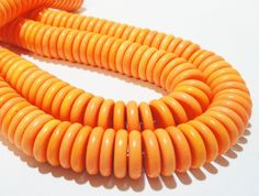 Orange Coin Beads  Donut Howlite Beads  Orange Flat by BijiBijoux
