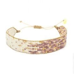 Bracelet perlé ivoire et mauve