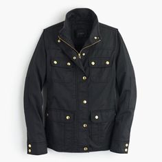 J Crew Downtown Field jacket black JCrew Downtown Field jacket in black. Gold hardware. NWOT J. Crew Jackets & Coats