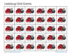 LadyBug Grid Games (and other shapes too) Preschool Boards, Preschool Activities, Printable Math Games, Grid Game, Counting For Kids, Insect Crafts, Ladybug Crafts, Bugs And Insects, Fun Math