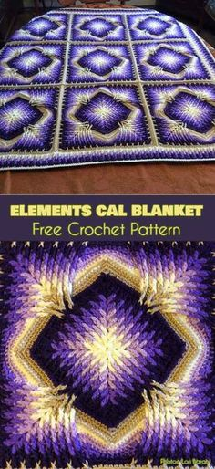 Elements Cal Square for Blankets, Afghans, Pillows, Centrepieces [Free Crochet Pattern] Photos: crafty_cc This beautiful square is an absolute must this winter. Designed by Sandra Kuijer, Elements Cal started in December 2017 and has been a hit Crochet Afghans, Crochet Stitches For Blankets, Crochet For Beginners Blanket, Crochet Motifs, Afghan Crochet Patterns, Free Crochet, Crochet Baby, Baby Afghans, Blanket Crochet