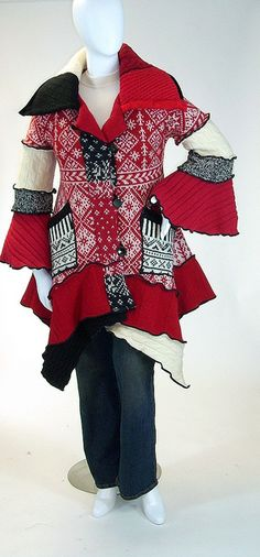 Red, Black and White Norwegian Pattern Sweater Coat, Petunia Style, Size Medium ( 10-12) by brendaabdullah, via Flickr