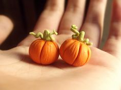 Miniature polymer clay pumpkins