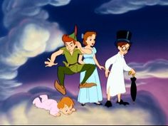 Peter, Wendy, John and Micheal together on the Neverland clouds...
