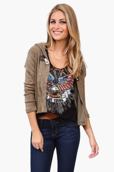 Toggle Cardigan - Paired with Graphic Tee
