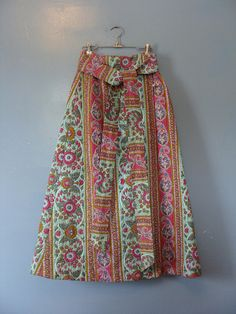 Vintage Maxi Skirt Quilted Cotton Design Thai High Waisted