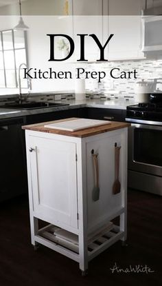DIY Kitchen Island Prep Cart Project Tutorial. Build your own kitchen storage using this simple project plan.