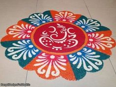 Lord Ganpati Rangoli Designs, Simple and Easy Ganesh Rangoli Images with Diyas and Flowers for Indian Festivals