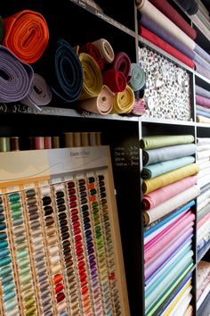 Poppytalk - The beautiful, the decayed and the handmade: London Shop Tour: Ray Stitch Yarn Display, Fabric Display, Fabric Storage, Fabric Decor, Sewing Room Decor, Sewing Room Organization, Store Displays, Retail Displays, Merchandising Displays