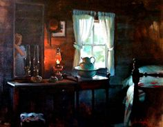 "artist Stanislaus J. Sowinski, ""Silent Time For Annabelle"", Oil on Canvas, 24' X 30',  $3,250"