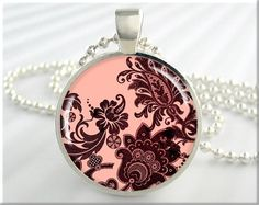 Damask Art Necklace Charm Floral Jewelry Pendant Resin Pendant Silver (362RS). $12.95, via Etsy.