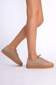 Yoki Beige Faux Suede Creeper Trainers