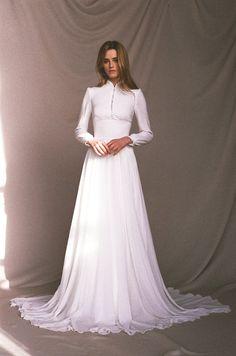 cf06af9143b7 Long sleeve wedding dress - Chiffon wedding dress button-up - Long train  bridal gown - Minimalist light ivory wedding dress - APOLLO