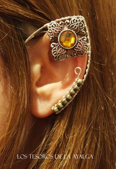 One Elvish earring with rhinestone and pearls in blue colour .    ***All rights reserved**