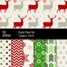 Digital Paper Pack  7 Christmas red & green papers by beartless, $1.75