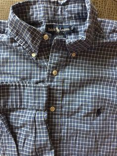 Men Ralph Lauren Blake Blue White Plaid Large Shirt  Polo #PoloRalphLauren #ButtonFront