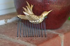 PRETTY Bird Vintage Upcycled  Damascene SPAIN Gold by ahunterrn, $40.00