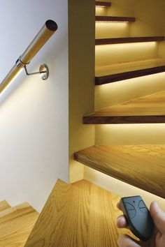 Subtle lighting of the stairs, one of seven must own smart home hacks #smarthomelighting