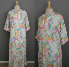 Vintage 60s 70s Psychedelic Polka Dots Paisley Novelty Hostess Gown Lounging Caftan - VTG 1970s Robe