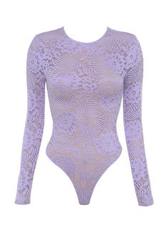 Clothing : Bodysuits : 'Suri' Lilac Sheer Stretch Lace Bodysuit $75